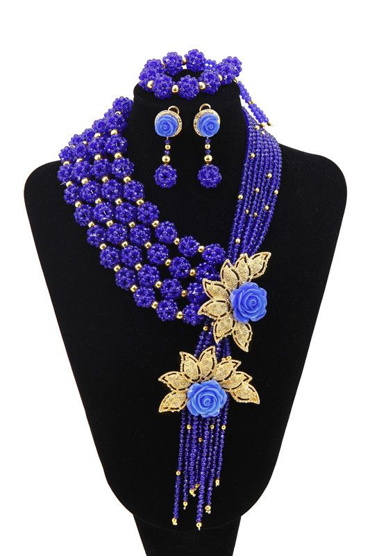 Fashions 2015 Flower New Style African Beads Jewelry Set Nigerian Wedding Beads Jewelry Kit Party Porm Necklace Set Red