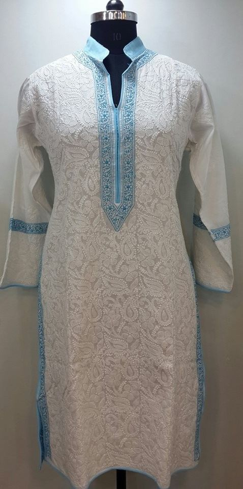 Lucknow Chikan Online Kurti White On White Soft Cotton With Very Fine Chikankari Murri Shadow ...