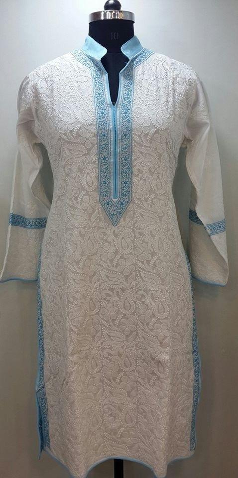 Lucknow Chikan Online Kurti White on White Soft Cotton with very fine chikankari murri, shadow & kangan work with designer neckline $41