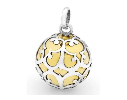 Chiming Harmony Ball with Sterling Silver Filigree over Brass Chime Ball #harmonyballnecklace #preganancy #pregnancygift #mothersdaygift #mothersday #jewelry #jewellery #fashion #womensfashion #giftsforher #maternity #maternitygift #giftsforwomen