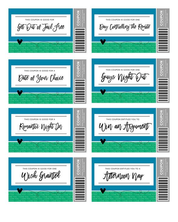 Love Coupons for HIM Love Coupons Instant Download by keylimedd