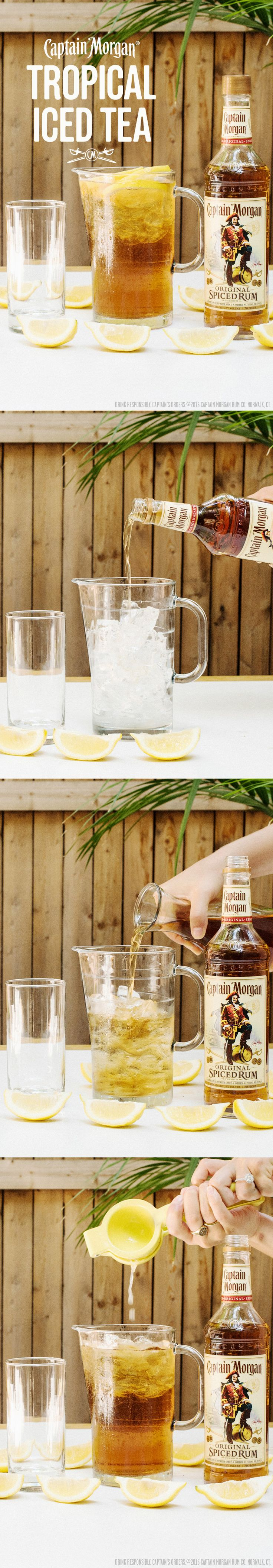 Impress your BBQ guests with this Tropical Iced Tea recipe: 1.5 oz Captain Morgan Original Spiced Rum 5 oz Ice Tea Squeeze of lemon  Get more rum recipes at https://us.captainmorgan.com/rum-cocktails/?utm_source=pinterest&utm_medium=social&utm_term=bbq&utm_content=tropical_tea&utm_campaign=recipe
