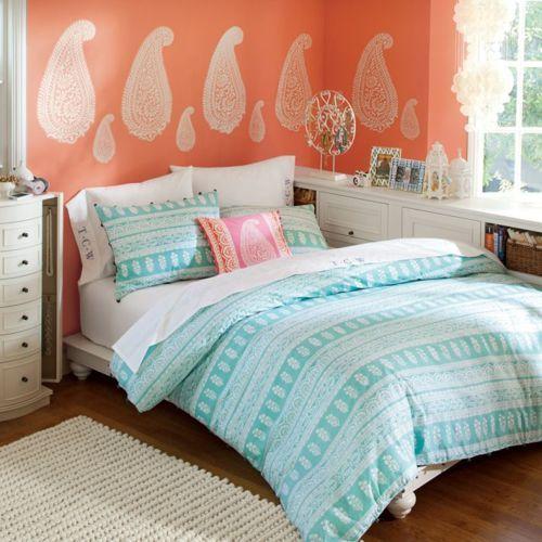 Cute wall paint idea.Teen Bedrooms,  Comforters, Girls Bedrooms, Room Decor, Girls Room, Platform Beds, Dreams Room, Bedrooms Ideas, Bedroom Ideas