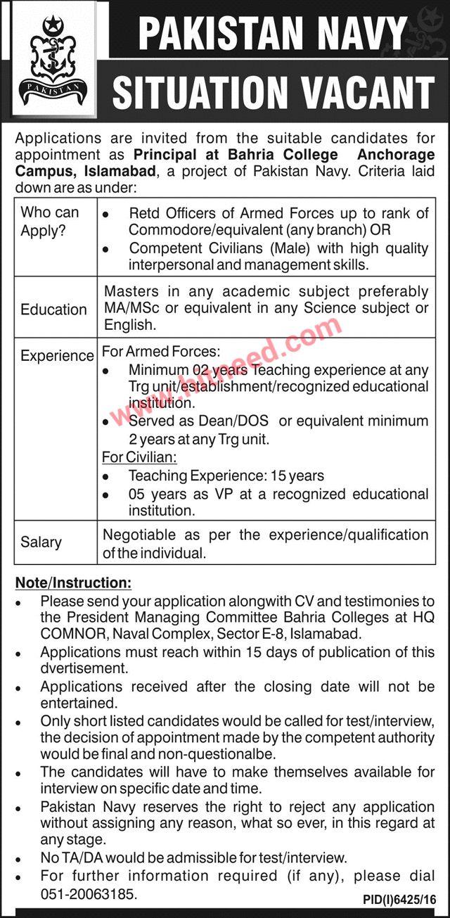 Principal, Bahria College Anchorage Campus, Islamabad, Pakistan Navy Jobs, May 2017 Last Date: 11-06-2017   #Islamabad Jobs #Pakistan Navy Jobs #Principal #Teaching Jobs
