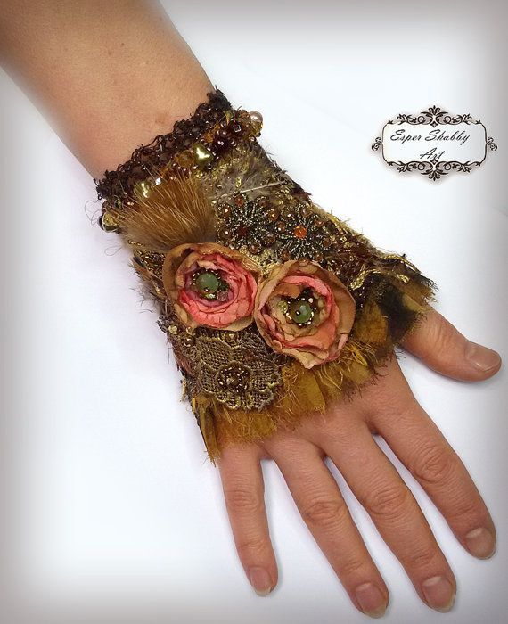 Jewelry bracelet, romantic shabby chic wrist cuff -antique laces, hand beaded ,embroidered