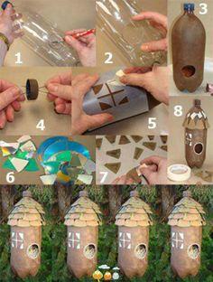 plastic drink bottle birdhouse. Recycle