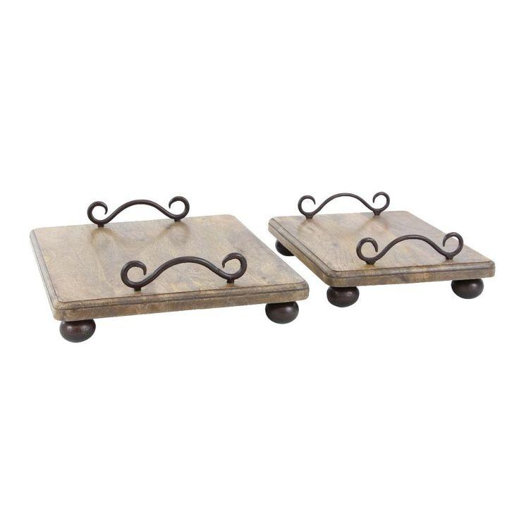 Benzara Splendid Wood Metal Tray, Set Of 2