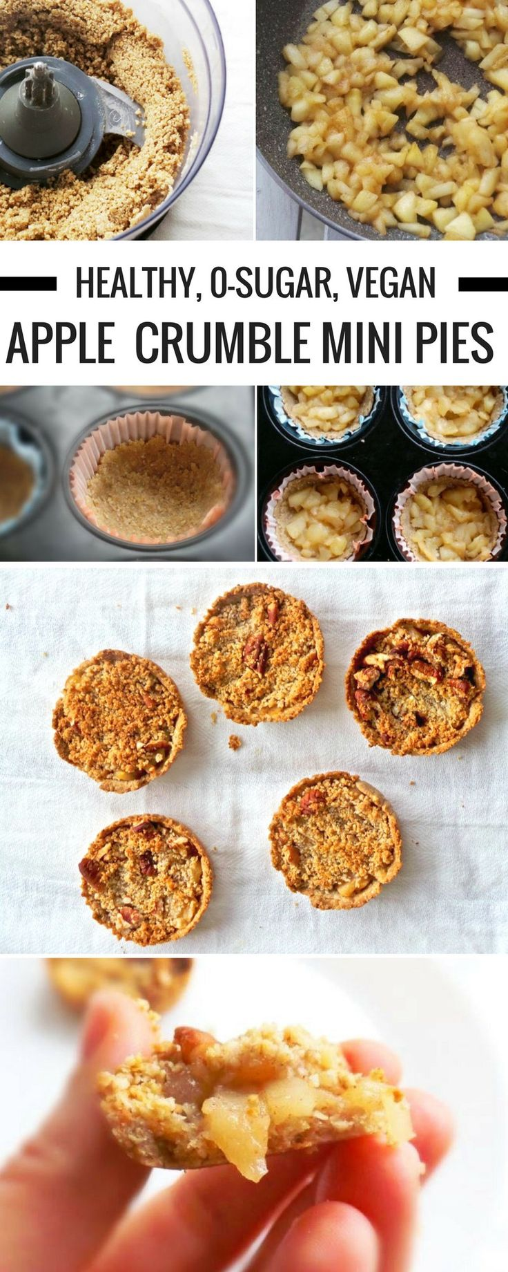 """Healthy apple crumble with oats! You'd never guess all these mini apple pies are sweetened with just 1 tbsp honey and made without any flour, but oats & nuts! This is a very delicious plant-based, healthy """"apple pie"""" recipe, that you can also eat for breakfast. These are vegan, gluten-free (if you use gf oats), high-fiber, refined sugar-free & great if you want to eat healthier!"""