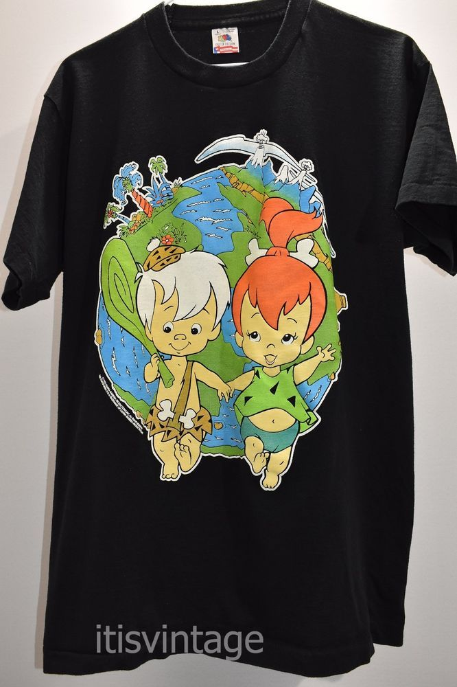 Vintage 1995 Hanna Barbera Pebbles Bam Bam Flintstones Fruit Loom T Shirt Large  | eBay