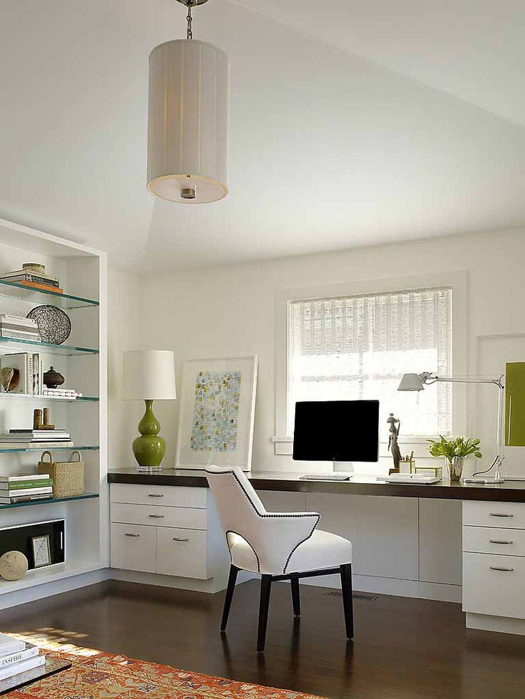 Stunning Home Office Ideas With Luxury Design : All White Domination For Home Office From A Desk Chair Shelves