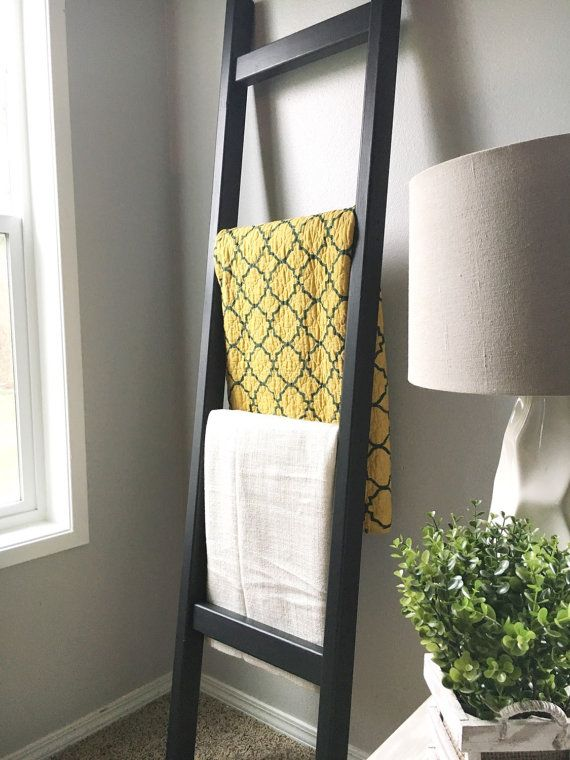 black wood blanket ladder  Black and White  Quilt ladder
