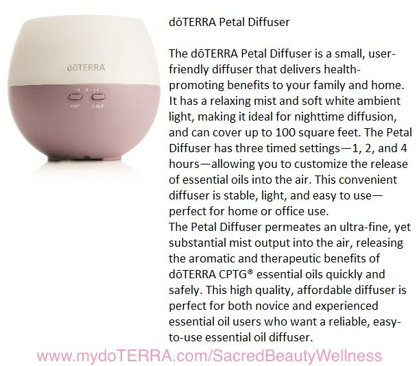 Need an hour to read, relax, study, focus, meditate?  How about 2 hours or 4 hours?  The Petal Diffuser allows you to set the timing.  Just add Serenity Blend for calming, focusing.  To aid in eliminating nasty viruses in your home or office, add OnGuard! #SolutionsFromNatureThatReallyWork www.mydoTERRA.com/SacredBeautyWellness