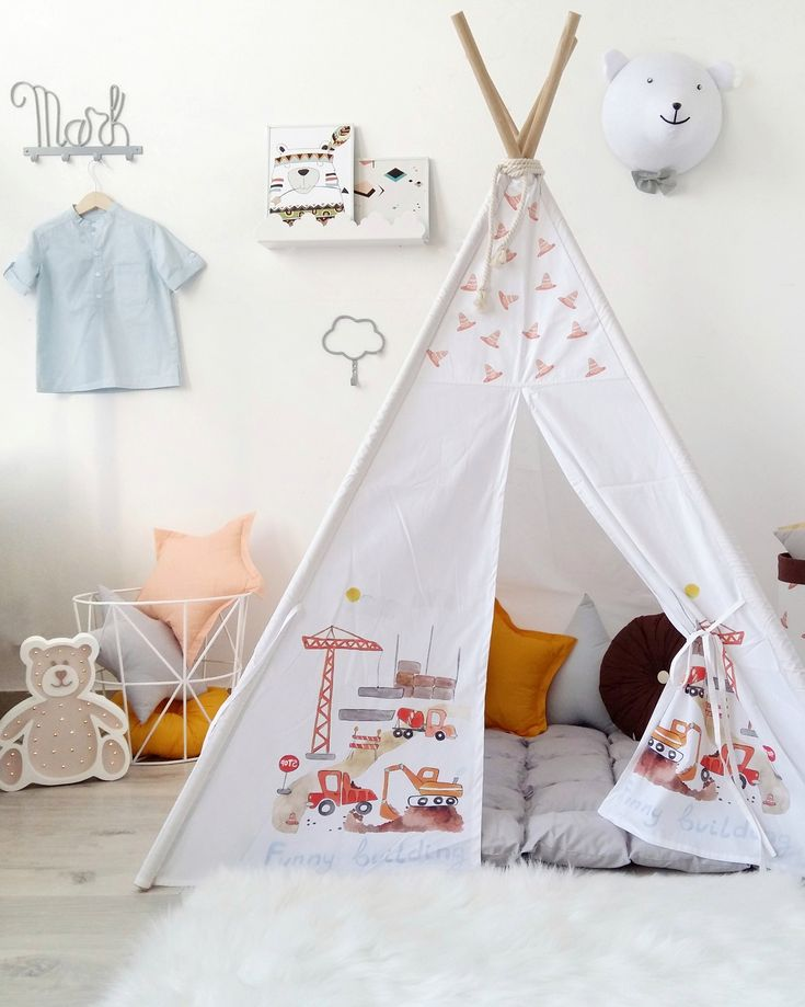 Kids Teepee with Construction Machinery to buy on Etsy - HappySpacesWorkshop - boys room ideas, kids teepee, tipi, children's playhouse, indoor outdoor play house, tepee for kids, boys room ideas, boys teepee, kids decor