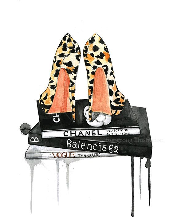 Fashion illustration of leopard shoes and luxury brands books by Rongrong DeVoe!  #fashionart #fashionillustration #fashionillustrator