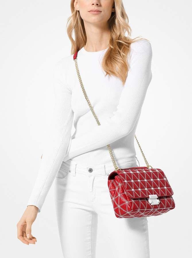 Michael Kors Sloan Large Chain Shoulder Bag Silver NWT