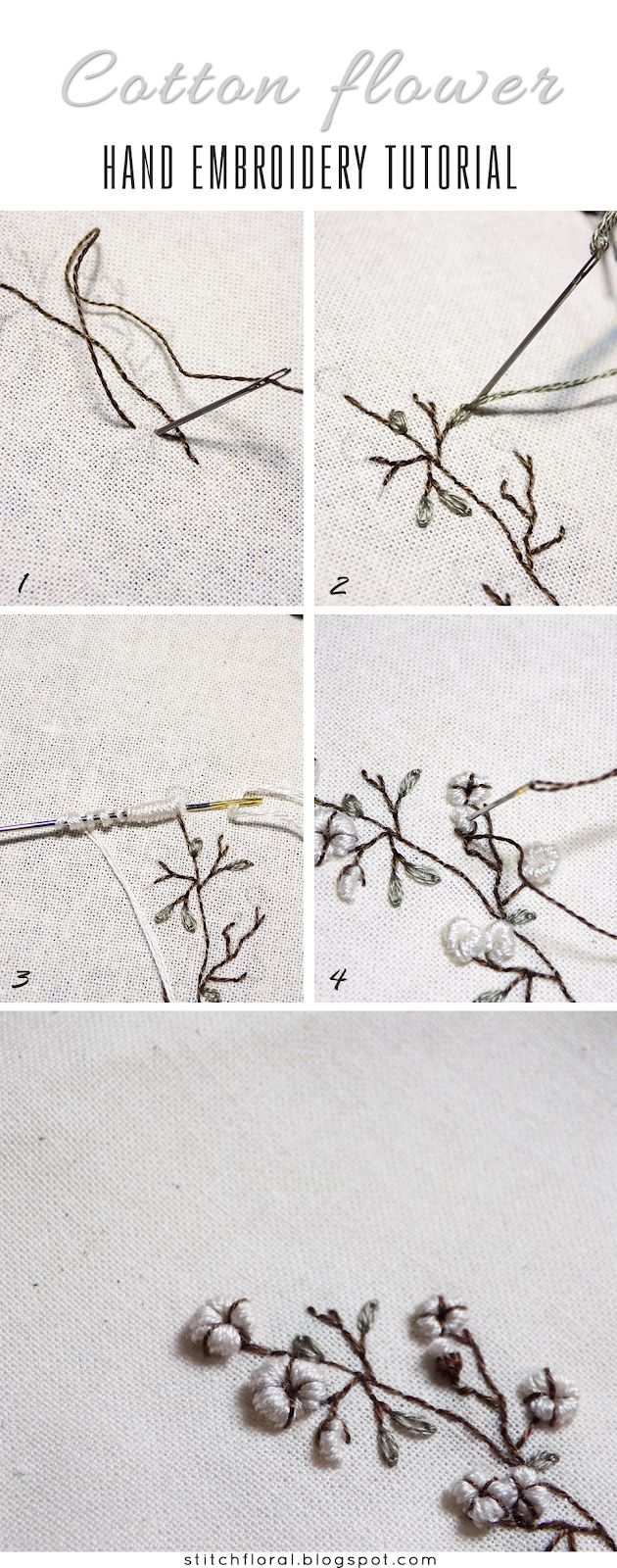Cotton flower hand embroidery: freebie and tutorial #handembroidery #stitching #needlework #embroidery #cotton #tutorial #botanical