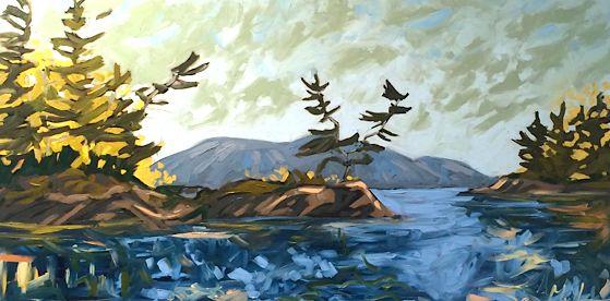 Twin Pines by Sara Alex Mullen. Ottawa artist, Canadian artist, landscape art, SANTINI GALLERY.