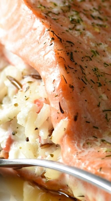 "Wild Rice Stuffed Salmon ""Beautiful Fresh Salmon Fillets are Stuffed with a Creamy Wild Rice Herb and Crab Mixture. Elegant Enough for a Small Dinner Party!"""