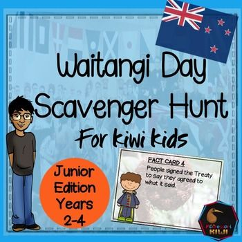 Waitangi Day Scavenger Hunt for New Zealand Classrooms. NEW TO TPT FOR 2016Are you looking for an activity that explains the Treaty of Waitangi in an accessible and engaging way for Primary Students? This resource is designed for years 2-4 - students will have to be at least Turquoise to do this activity independently.A series of fact cards are placed around the room and students 'hunt' for the answer and write it on their worksheet.