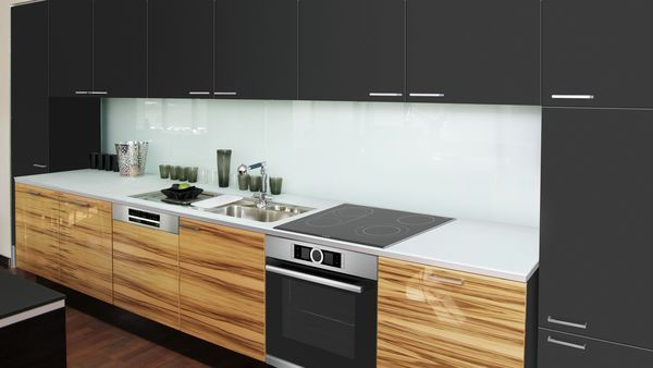 Built-in oven, Induction cooktop, Integrated rangehood, Built-in bottom mount fridge-freezer, Semi integrated dishwasher 60 cm