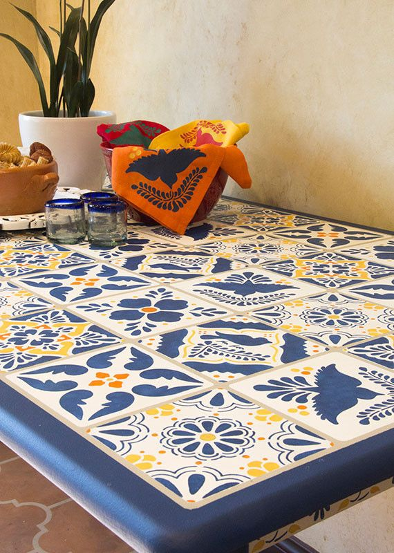 Mexican Talavera Tiles Wall & Furniture Stencils | Royal Design Studio Stencils