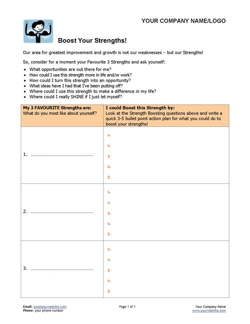 Help your clients really shine with this simple personal and career coaching exercise. This great coaching tool asks your clients to look at their favourite strengths (rather than their weaknesses) and find ways to boost them in their lives! http://www.thecoachingtoolscompany.com/products/boost-your-strengths/