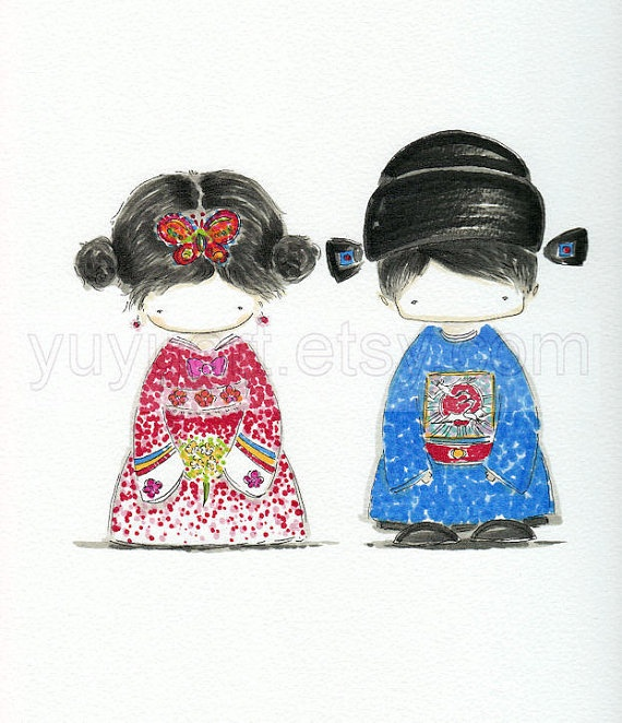Cutie Korean Hanbok Couple--original hand drawn portrait