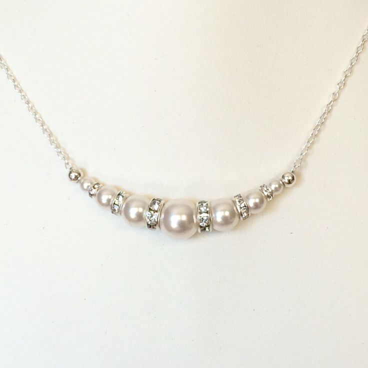 Sterling silver Swarovski pearl bridal necklace by Colour and Sparkle. Visit our Etsy store for more bridal jewellery, wedding jewellery and accessories