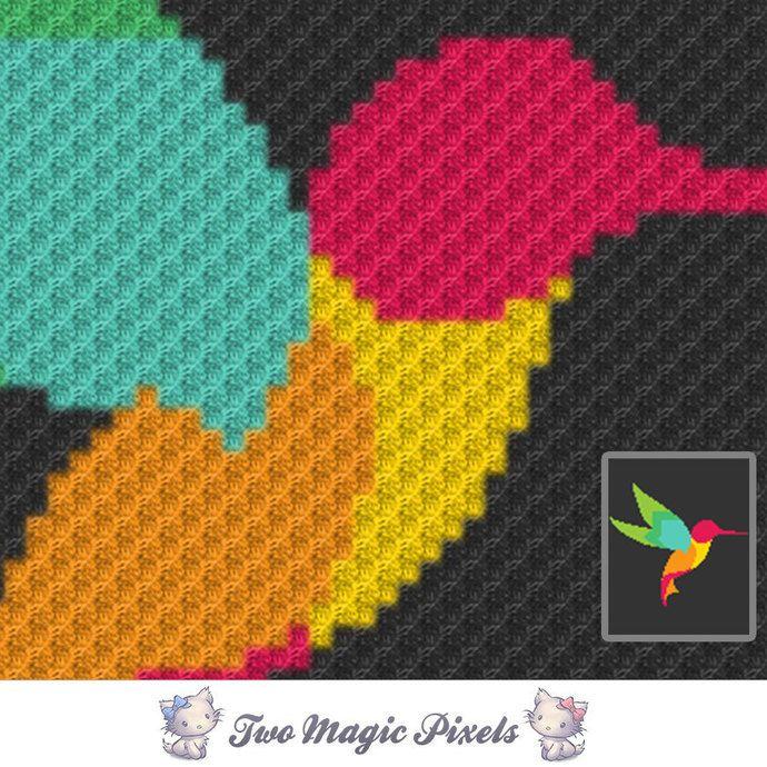 Hummingbird crochet blanket pattern; | TwoMagicPixels