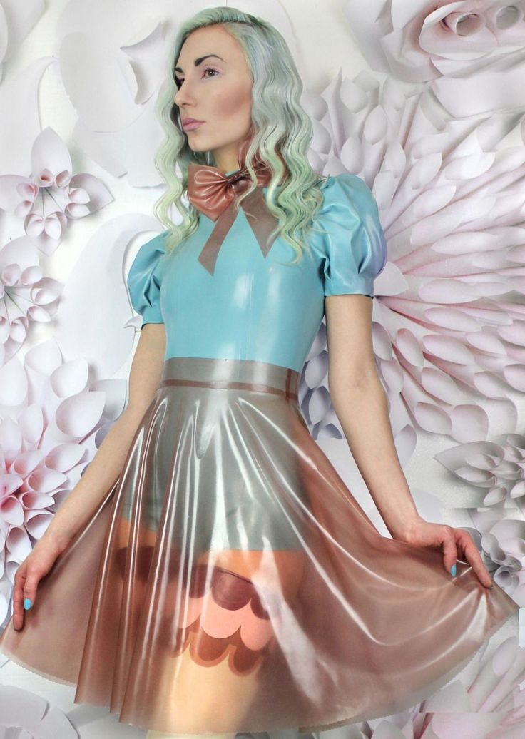 Transparent Latex Rose Skirt And Baby Blue Latex Bodice