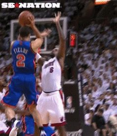 LeBron James blocks Landry Fields with his face