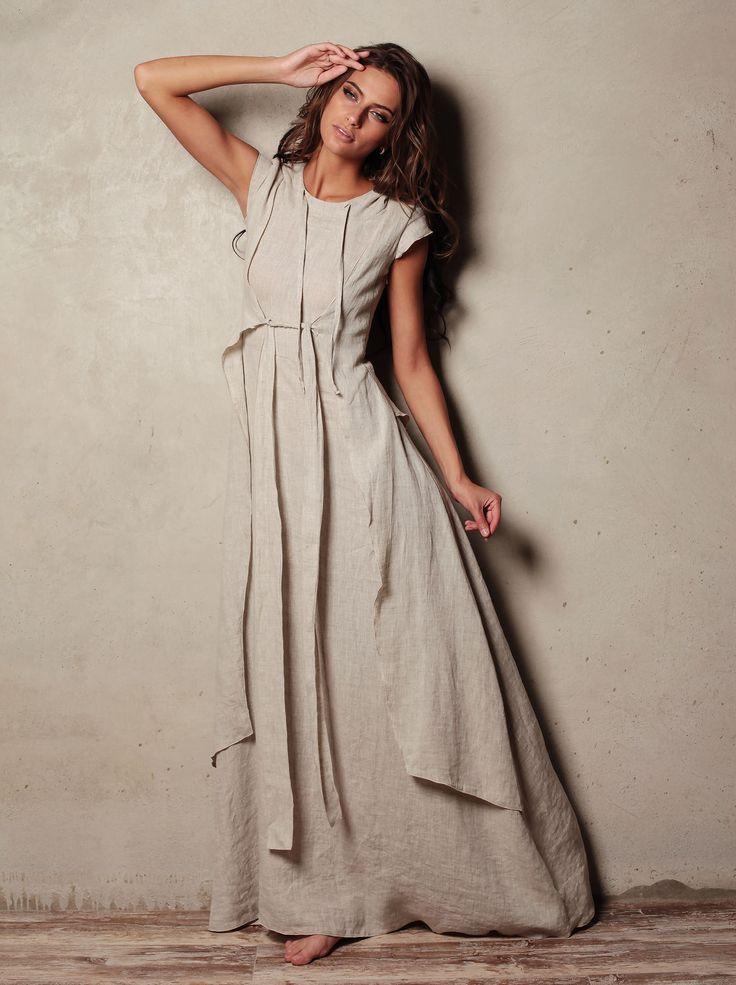 """Купить Платье """"Вест - Натурель"""" из льна - бежевый, натуральный лен, платье в пол"""
