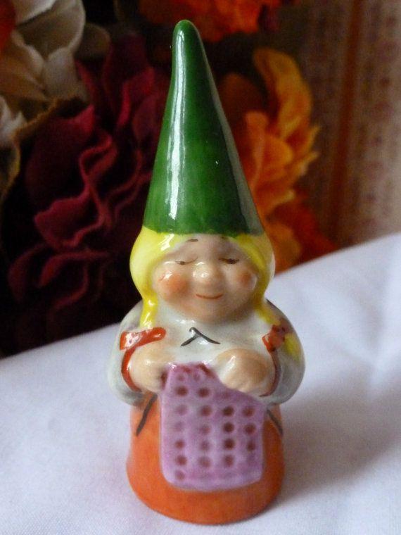 Vintage Elf / Gnome Thimble signed Porcelain by vintagelady7, $12.00: Thimbl Signs, Thimbl Holders, Yüksük Thimbl, Gnomes Thimbl