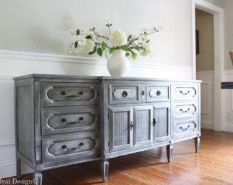 Metallic Grey / Faux Zinc Finish Buffet / Sideboard / Dresser