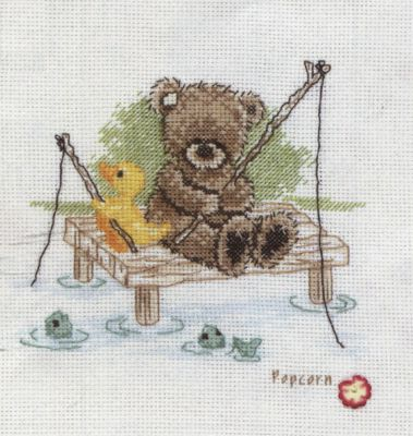 Popcorn Bear - Fishing cross stitch