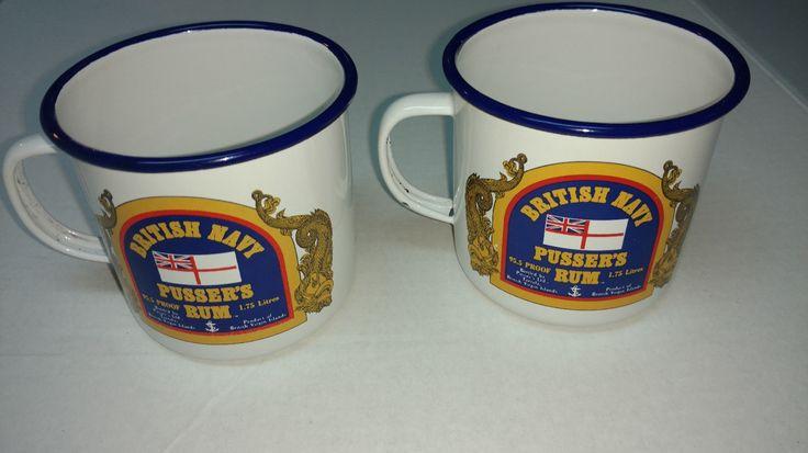 Pussers Rum Enameled Mug Cup St John Royal Virgin Islands Set Rare British Navy