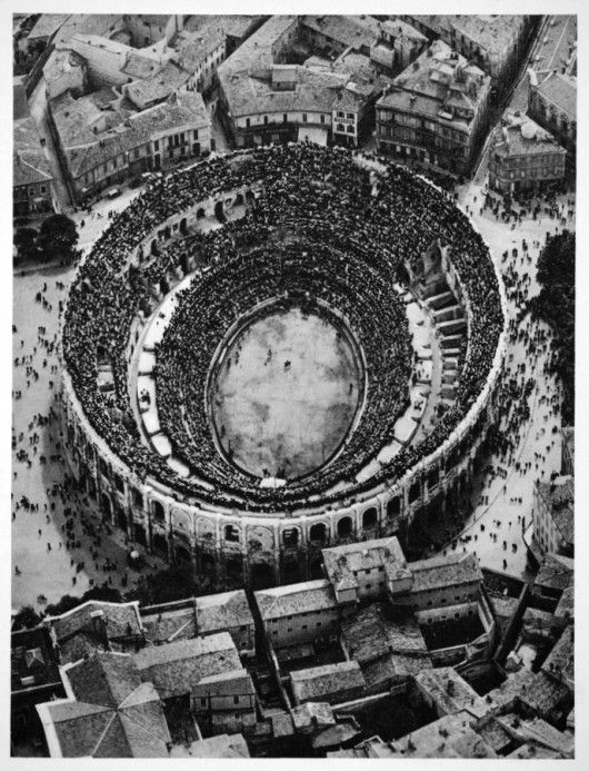 Arena of Nimes in Provence, France, 1935. / old photography