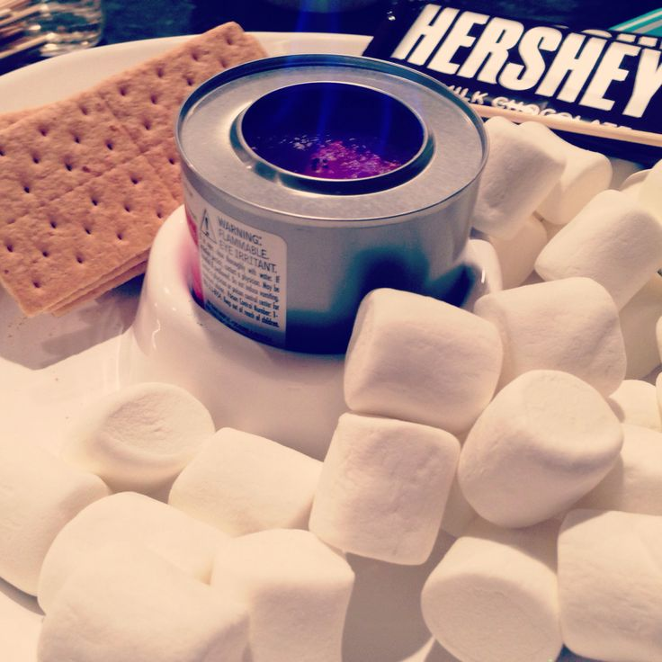 Adult slumber party/ sleepover:  s'mores making station.  Use wooden grilling skewers and sterno cooking fuel.