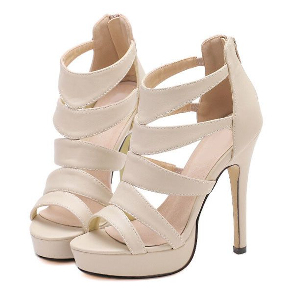 SheIn(sheinside) Camel High Heel Platform PU Sandals (155 BRL) ❤ liked on Polyvore featuring shoes, sandals, heels, high heels, peep toe sandals, heels stilettos, camel sandals, heeled sandals and peep toe platform shoes