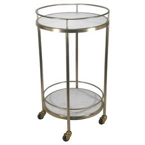 Metal & Stone Bar Cart with Painted Gold Finish - Threshold™ : Target