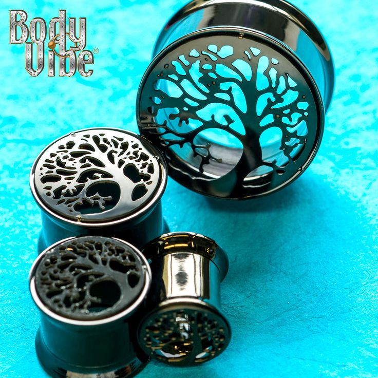 Double Flared Internally Threaded Black PVD Plated Tunnel Plugs with Tree of…