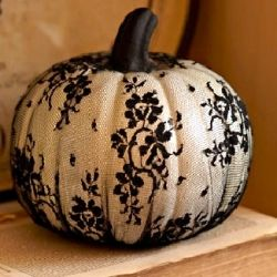 Lace over pumpkin covers by Martha Stewart- sold at Joann's +40% off weekly coupon.