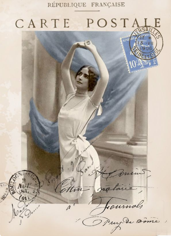 Cleo de Merode postcard digital collage p1022 Free for personal  use <3