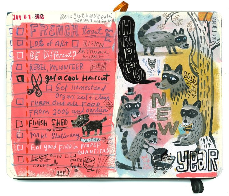 Resolutions & raccoons | skbirdsong  #artjournal #sketchbook
