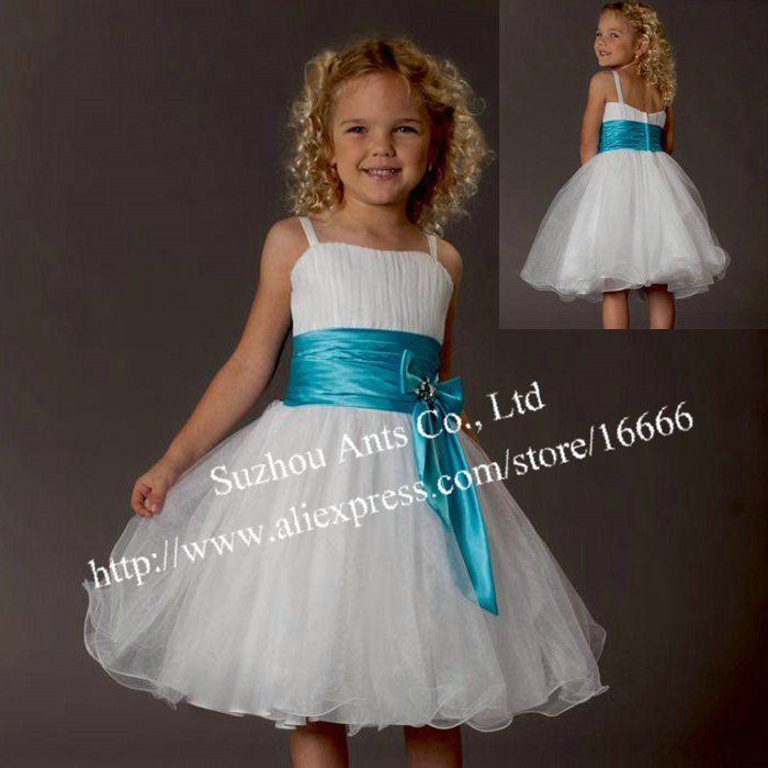 Organza Desginer Sash Blue White Flower Girl Dress New Fashion 2013 FL179 on AliExpress.com. $79.68