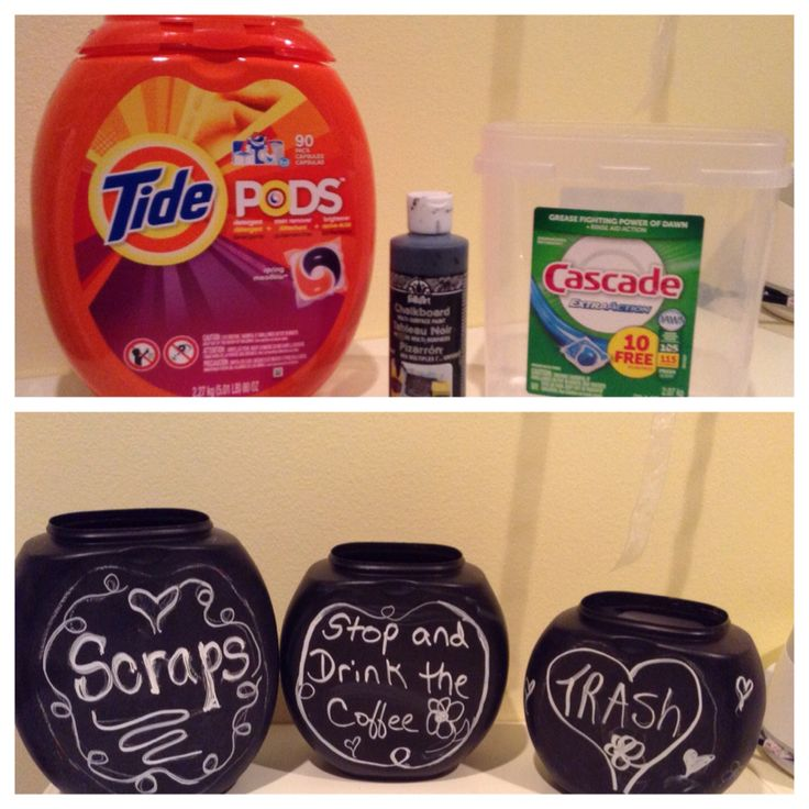 Create a write on thread catcher / trash bin for your craft room. Paint a Tide Pod container with chalkboard paint. http://timberlinequilting.com/?p=112