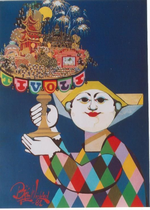Original vintage poster TIVOLI COPENHAGEN HARLEQUIN SHOW 1981