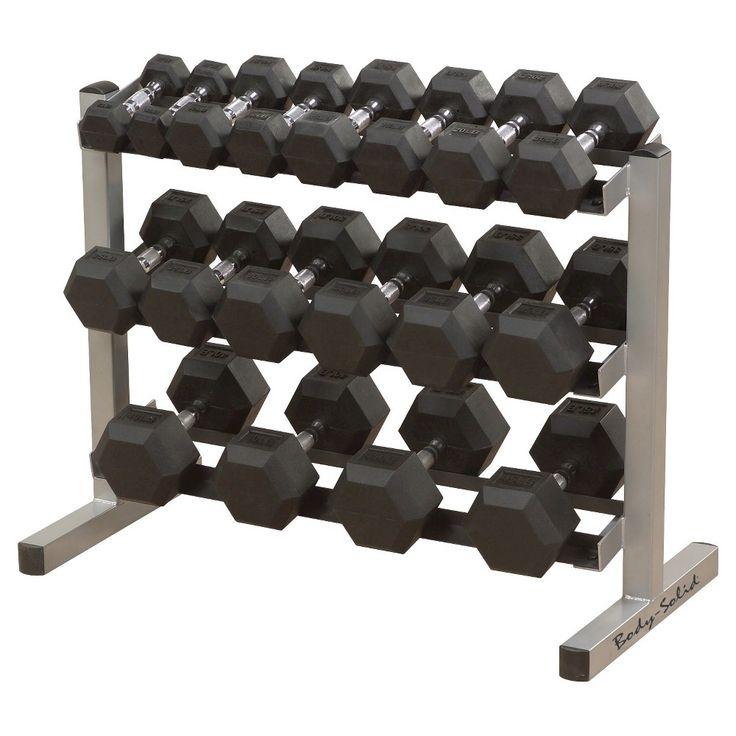 Body Solid Dumbell Rack with 5-50LB Rubber Hex Dumbell Set - (GDR363WSDRS550),