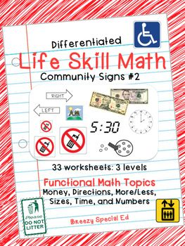 Worksheets Maths Life Skill Worksheets On Number System 1000 ideas about vocational activities on pinterest differentiated life skill math pack community signs 2 for special ed