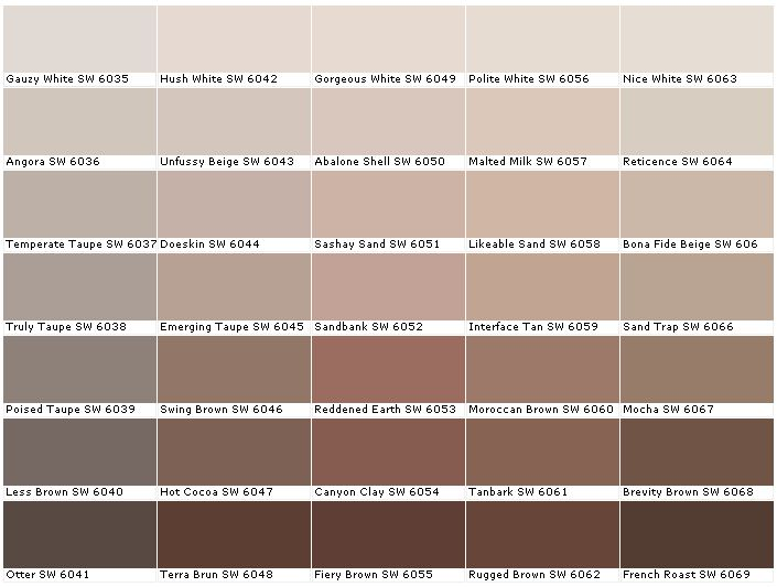 Sherwin Williams Sw6035 Gauzy White Sw6036 Angora Sw6037 Temperate Taupe Sw6038 Truly Sw6039 Poised Sw6040 Less Color Combinations Pinte